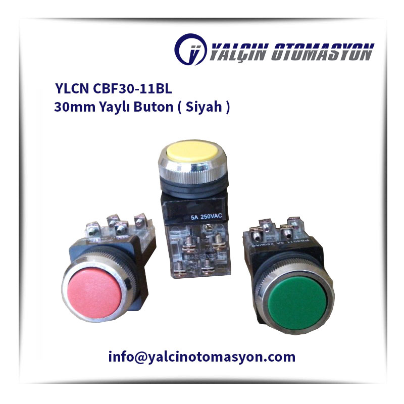 YLCN CBF30-11BL 30mm Yaylı Buton ( Siyah )
