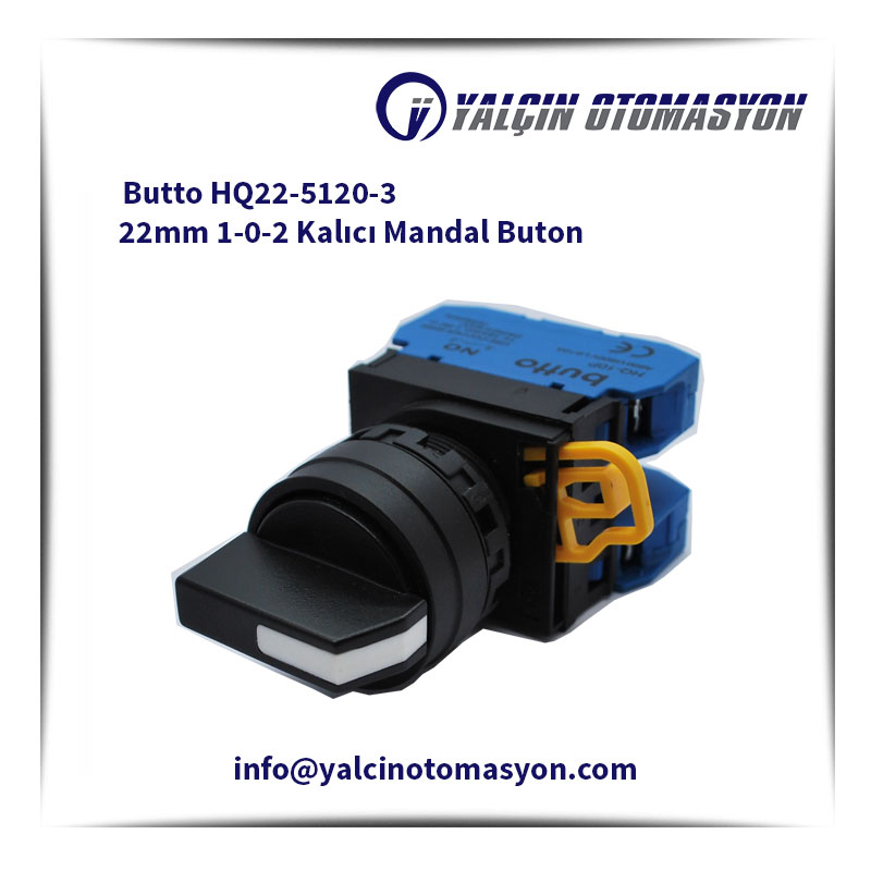 Butto HQ22-5120-3 22mm 1-0-2 Kalıcı Mandal Buton