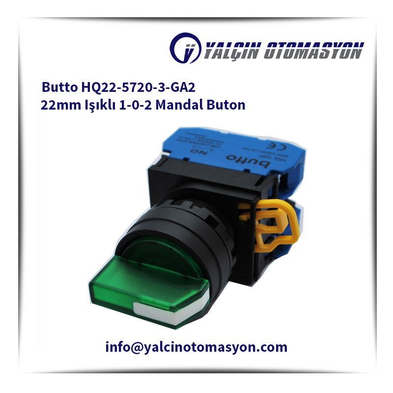 Butto HQ22-5720-3-GA2 22mm Işıklı 1-0-2 Mandal Buton
