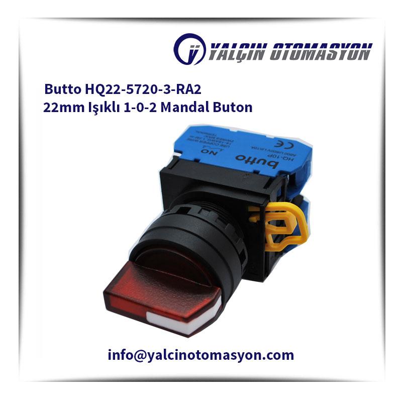 Butto HQ22-5720-3-RA2 22mm Işıklı 1-0-2 Mandal Buton