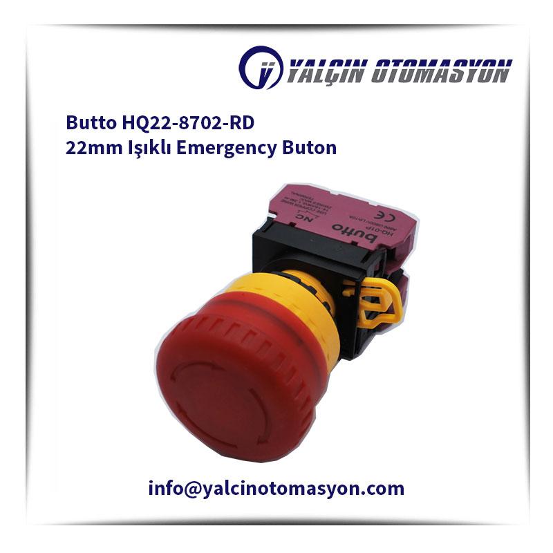 Butto HQ22-8702-RD 22mm Işıklı Emergency Buton
