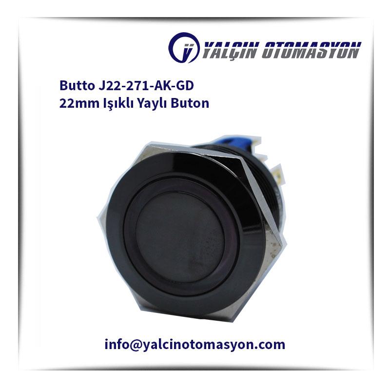 Butto J22-271-AK-GD 22mm Işıklı Yaylı Buton