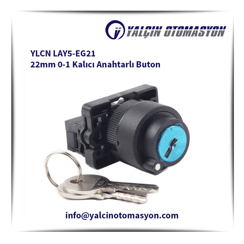 YLCN LAY5-EG21 22mm 0-1 Kalıcı Anahtarlı Buton