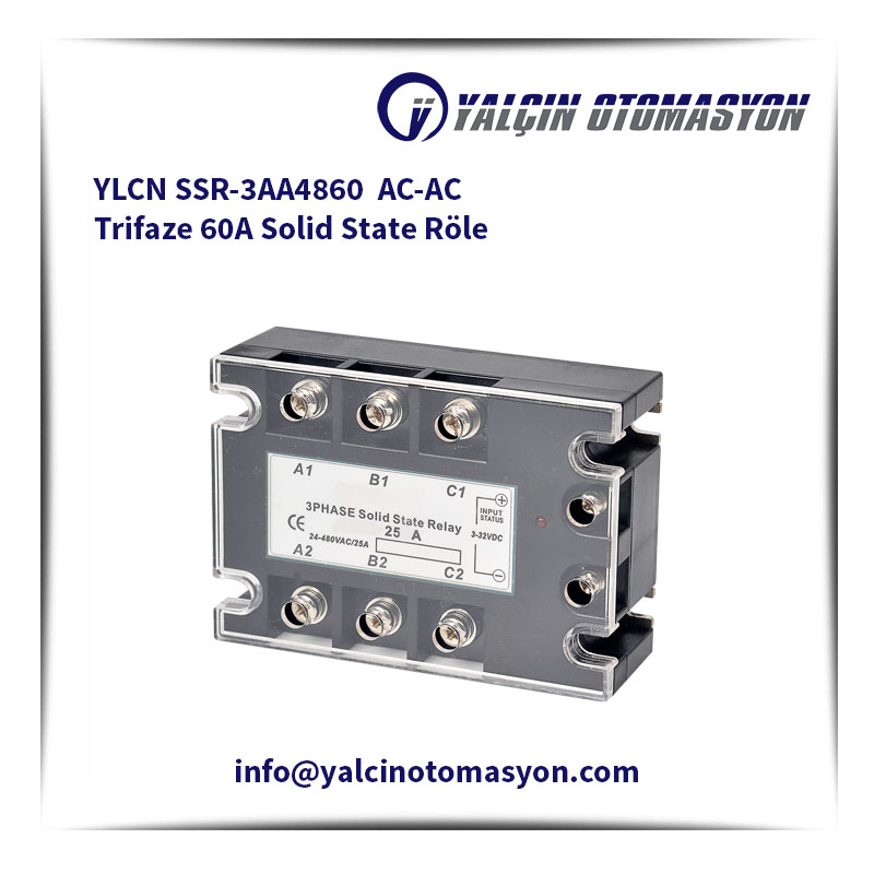 YLCN SSR-3AA4860 AC-AC Trifaze 60A Solid State Röle